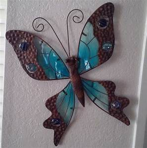 Butterfly wall plaque green or blue