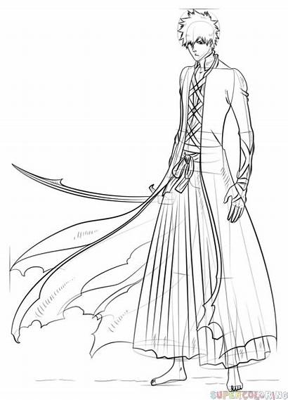 Ichigo Anime Drawing Kurosaki Draw Bankai Coloring