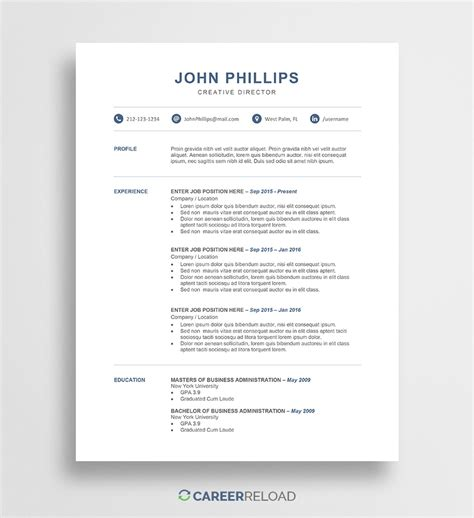 Resume Word Templates by Free Resume Templates Free Resources For