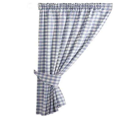 gingham blue country check ready made curtains