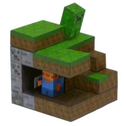 mini papercraft minecraft diorama