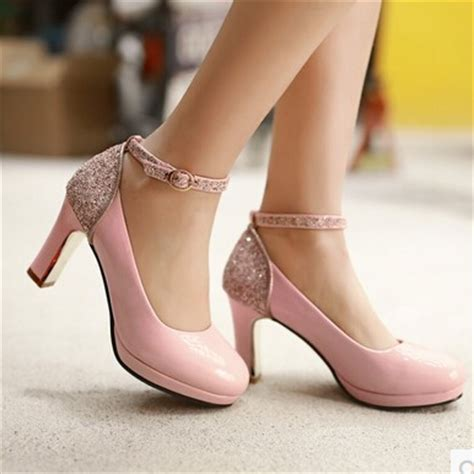 light pink shoes 2016 new korean version of sweet high heeled shoes
