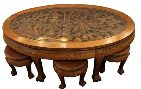 • antique chinese wood and marble coffee table with a beautiful top is also an amazing piece of asian furniture. ASIAN DRAGON HAND CARVED COFFEE TABLE W/ 6 STOOLS