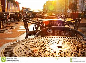 Street Cafe Early Morning. Rising Sun Stock Image - Image ...