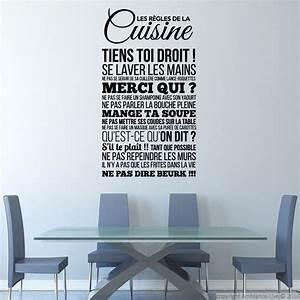 Stickers Muraux Cuisine : sticker les r gles de la cuisine stickers citations ~ Premium-room.com Idées de Décoration