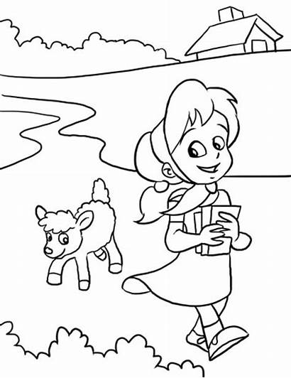 Lamb Mary Had Nursery Rhyme Coloring Pages
