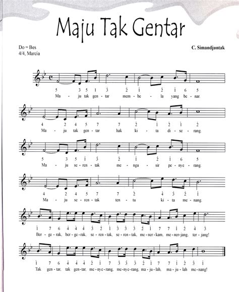 maju tak gentar not angka not angka pianika lagu maju tak gentar