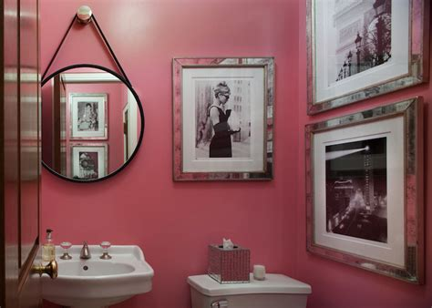 pink powder room contemporary bathroom sara tuttle