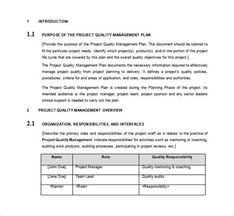contractor quality plan template quality management plan template business letter template