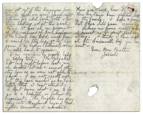 lot detail civil war letter from a soldier in the second