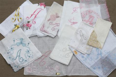 image gallery monogrammed handkerchiefs vintage hankies w embroidered a monogram lot of fine