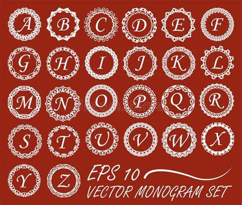 set  monogram  vintage mono  frames  alphabet  letters stock vector