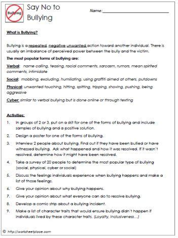 bullying and the 4 types worksheets all kinds of