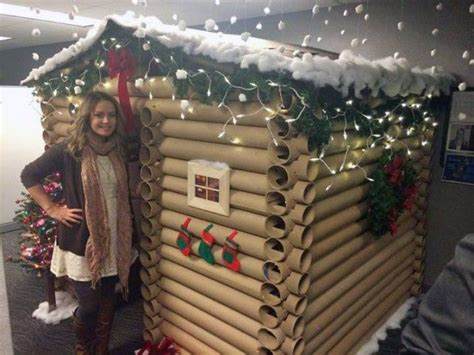 best and worst christmas office decorations transforms work cubicle into a cosy log cabin for metro news
