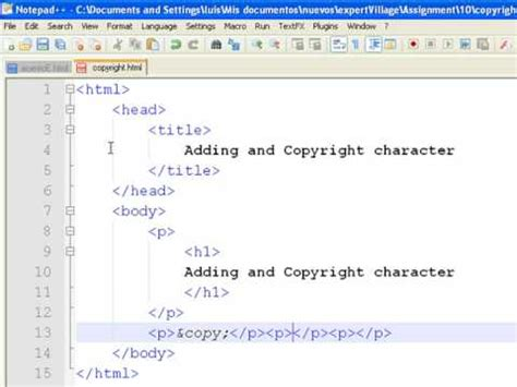 how to insert copyright symbol how to create web pages using html how to add copyright symbols to a web page youtube