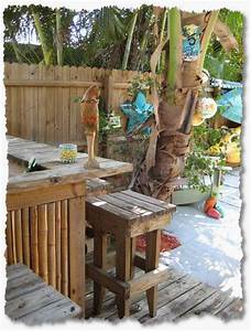 tropical garden furniture bamboo tiki huts bars benches With tropical home bar furniture