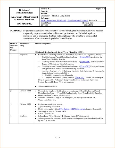 Process And Procedures Template by 8 Procedure Template Authorizationletters Org