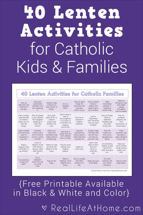 40 lenten activities for catholic families free printable