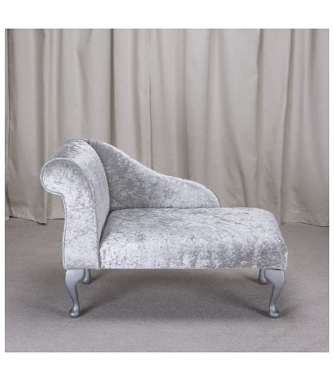 mini chaise longue sale 41 quot mini chaise longue in a bling silver metallic fabric
