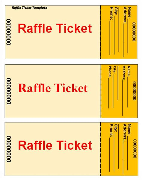 raffle ticket printing template raffle ticket template pinteres