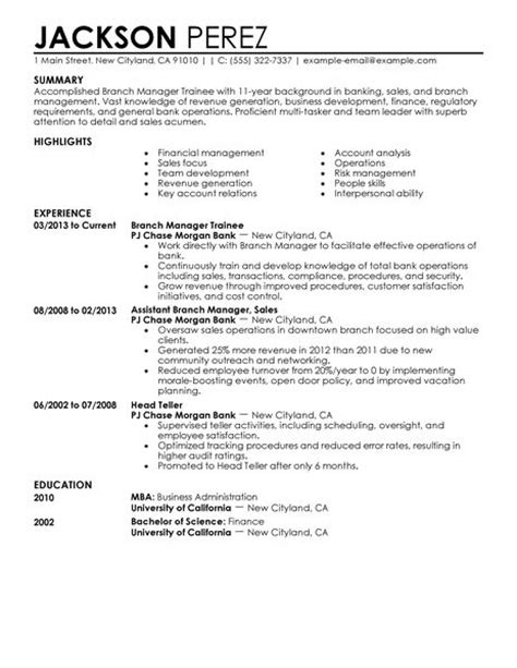 best branch manager trainee resume exle livecareer