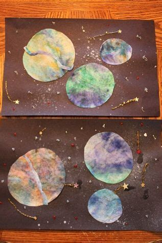 colored coffee filter planets  space week outer space
