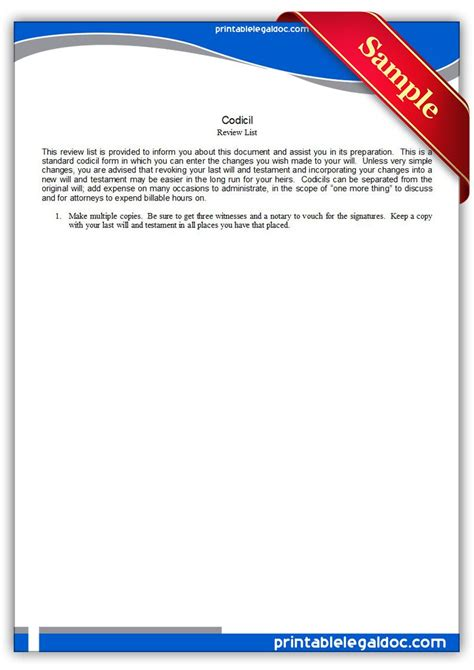 printable codicil legal forms  legal forms