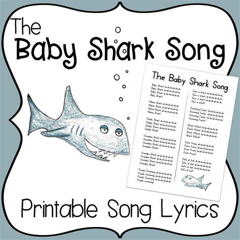 baby shark song printable lyrics early childhood