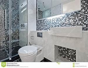 Cuarto De Baño Con Los Azulejos De Mosaico Foto de archivo Imagen de espejo, negro: 12028518