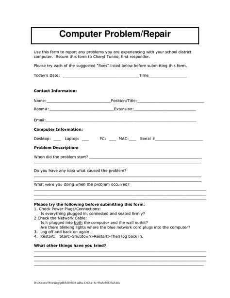Computer Support Contract Template by Form Computer Service Request Form Ideas Computer