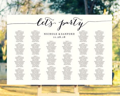 lets party seating charts wedding templates  printables