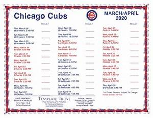 October 2020 Calendar Template Printable 2020 Chicago Cubs Schedule