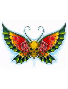 Butterfly with Skull and Rose Tattoo