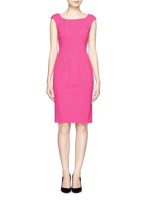 Boat Neck Dress Pink by Armani Pleated Boat Neck Dress In Pink Lyst