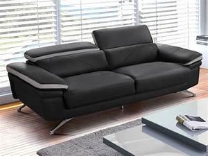 canape 2 ou 3 places en cuir anthracite et gris iriana With tapis moderne avec www vente unique com canape
