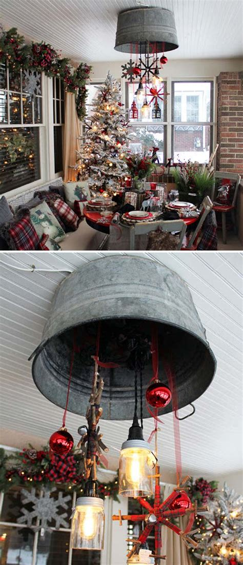 Add a galvanized stool to a kitchen corner for extra seating, and storage! Creative Ideas to Use Galvanized Buckets in Holiday Decor - Amazing DIY, Interior & Home Design
