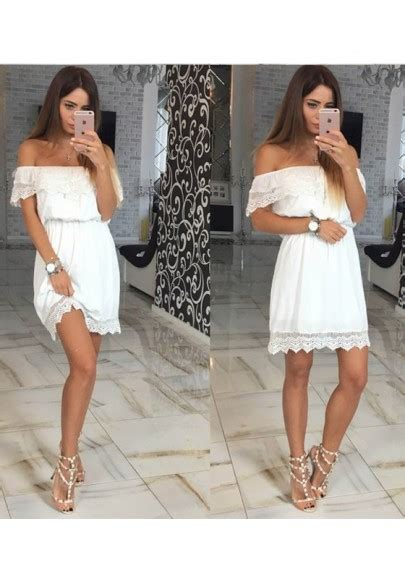 How To Cut Boat Neck Dress by White Patchwork Lace Cut Out Boat Neck Sweet Mini Dress