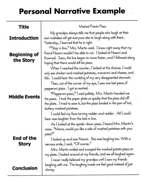 write  personal narrative essay    grade