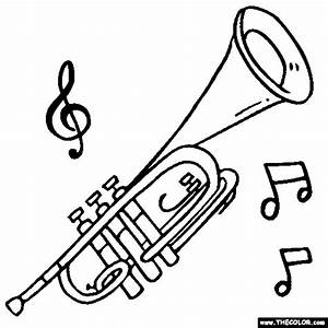 Trumpet Online Coloring Page | Brass Coloring | coloring ...