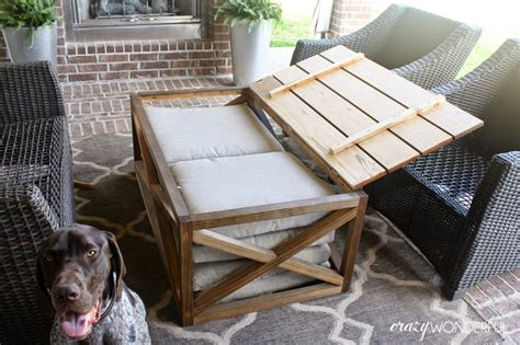 This coffee table is unique, as it also doubles as a planter, or if you're feeling refreshments, as a drink cooler. DIY outdoor coffee table   with storage - Crazy Wonderful
