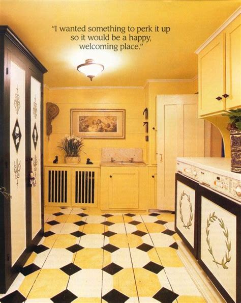 great tiled kitchen floor  black yellow  white