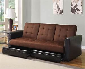 Chocolate microfiber adjustable sofa bed futon with for Futon with storage drawers