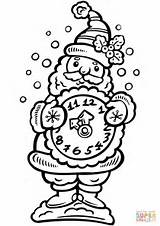 Coloring Santa Clock Pages Alarm Holding Clocks Printable Claus Drawing Intervals Minute Getcolorings Kid Dot sketch template
