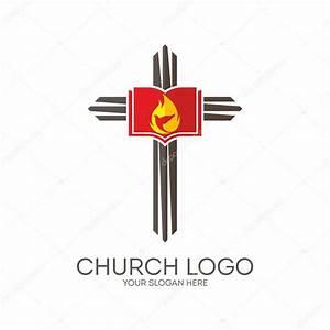 Church logo. Cross, Bible, flame, dove, icon — Stock ...