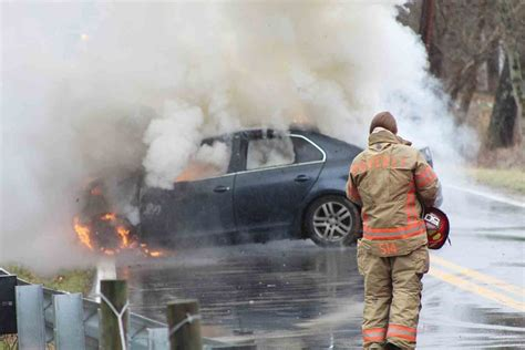 Car catches fire after crash; one injured   News, Sports ...
