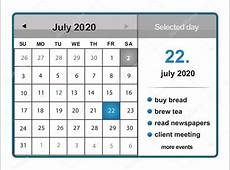 July 2020 calendar — Stock Vector © sarahdesign85 #41724407