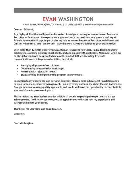Sle Cover Letter For Recruiter Position by Best Recruiting And Employment Cover Letter Exles