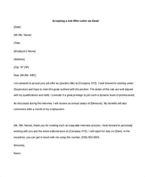 Accepting Job Offer Letter Exles Docoments Ojazlink