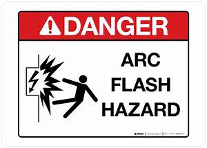 Danger arc flash hazard wall sign phs safety for Arc flash warning signs