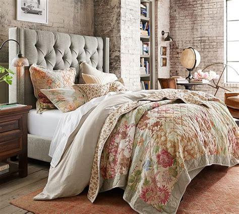 pottery barn quilt carolina floral patchwork reversible quilt sham
